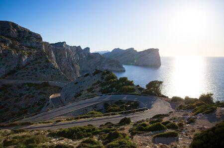 Road, sea and mountains - Mallorca, Spain Stok Fotoğraf