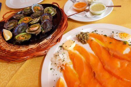 Lapas and smoked salmon - delicious from Lanzarote Stok Fotoğraf