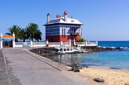 Little beach and building in Arrieta - Lanzarote Stok Fotoğraf