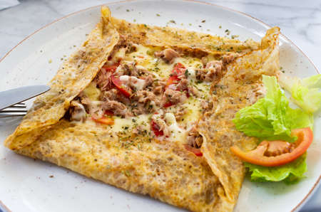 Traditional crepes with tuna and cheese Stok Fotoğraf