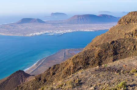 Landscape of north-east shore of Lanzarote - Spain Stok Fotoğraf