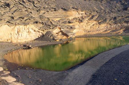 El Lago Verde - unique green lake on Lanzarote island