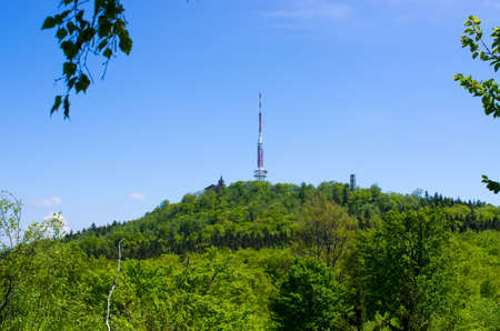 Sleza mountain with TV tower - Lower Silesia, Poland