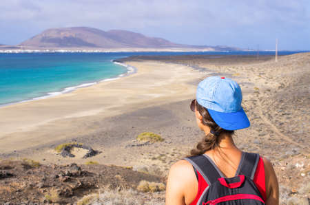Risco beach surrounded by cliffs on Lanzarote - Spain