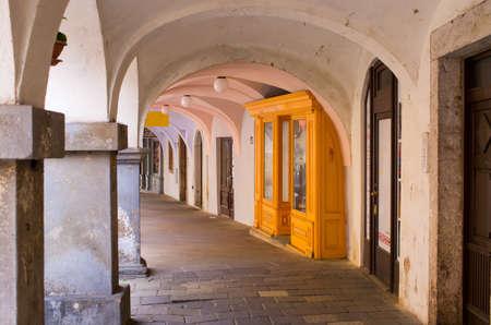 Arcades of town square, Trutnov - Czech Republic Stok Fotoğraf - 155247075