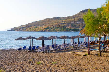 Beach with umbrellas - Lesbos, Greece