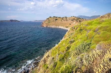 Scenic seashore on one of greek islands, Lesbos Stok Fotoğraf
