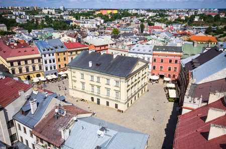 Panorama with town square of Lublin - Poland Stok Fotoğraf