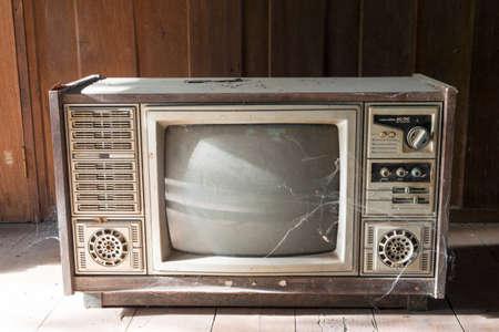 retro tv: retro tv with wooden case in room
