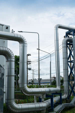globalwarming: Industrial pipelines in power station facility asia of Thailand Stock Photo