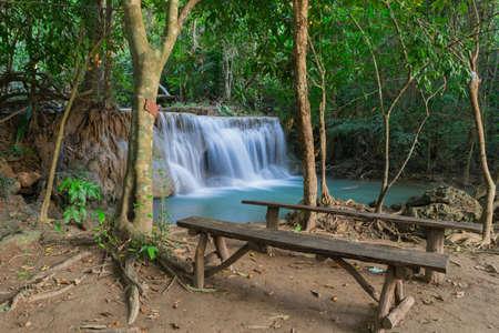 khamin: Huai Mae Khamin Waterfall with chair at kanchanaburi in Thailand