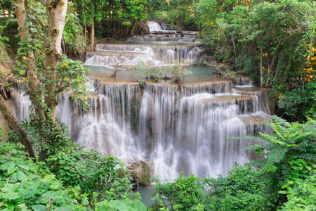 Huai Mae Khamin Waterfall at kanchanaburi in Thailand Stock Photo