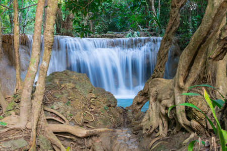 khamin: Huai Mae Khamin Waterfall at kanchanaburi in Thailand Stock Photo