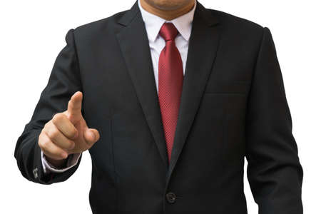 Businessman point something at front Stock Photo