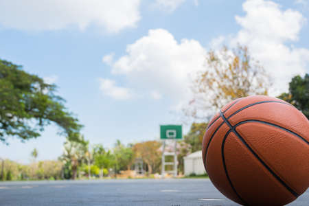 Basketball on basketball field on front view with copy space Stock Photo