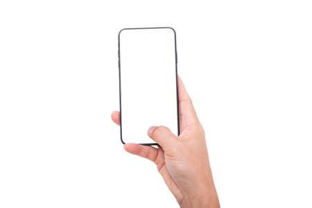 Hand, die neues Smartphone auf weißem Hintergrund hält