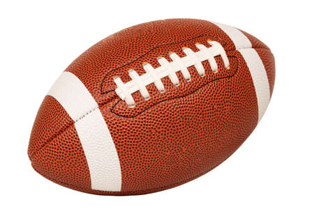 Leather American football on white background, full ball