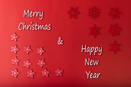 Christmas background. Red star and red Snowflakes on red color background for Merry Christmas and Happy New Year for background