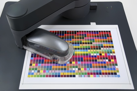 spectrophotometer: spectrophotometer for media profiling and icc-profile building Stock Photo