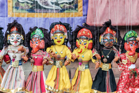 colorful nepalese puppet dolls