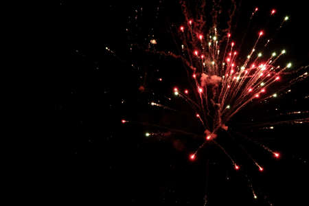 colorful firework in dark sky Stock Photo