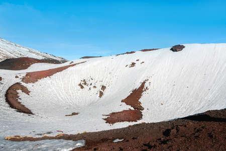 snow on mount etna in winter Stock Photo