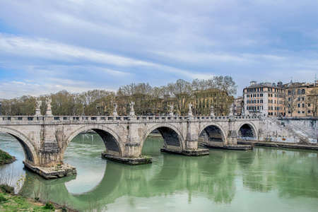 santangelo bridge on river in rome Stock Photo