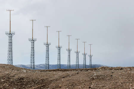 signal towers on grassland in wild 스톡 콘텐츠
