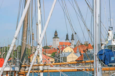 view of visby old town from harbor Editorial