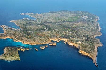 aerial view of Malta island in blue sea