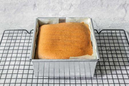 sponge cake in oven pastry