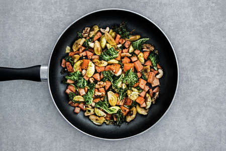 grilled vegetables in cooking pan