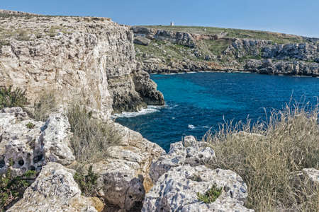 blue ocean with cliff in Malta