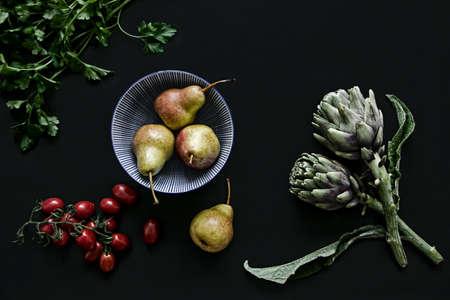 food ingredients on dark background