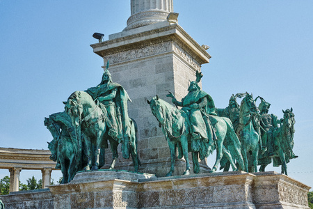 Heroes Square in Budapest, the Millennium Memorial, partial view of the seven chieftains of the Magyars.