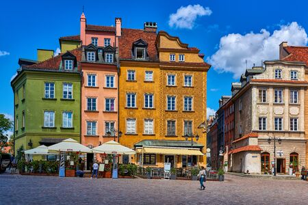 WARSAW, POLAND JUNE 8 2017: Warsaws Old Town Plac Zamkowy with colorful restored buildings as seen in June 8, 2017
