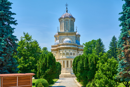 Cathedral in city of Curtea de Arges is a monastery and convent of historical importance outside view