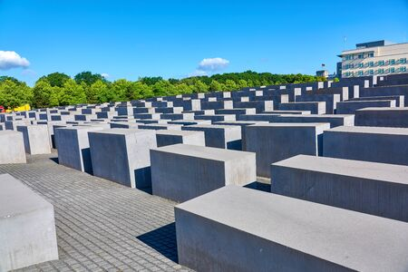 BERLIN, GERMANY - JUNE 10 2017: Berlin Memorial to the Murdered Jews of Europe as seen on June 10, 2017 in memory of the Jewish victims of the Holocaust.