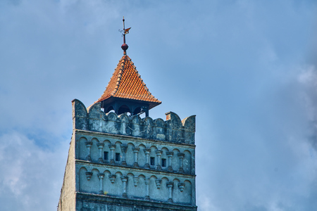 View of the top of the tower at Bran medieval castle in Transylvania Romania