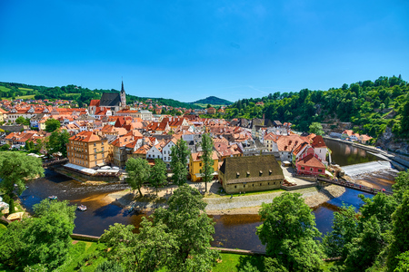 Medieval city of Cesky Krumlov in the Czech Republic as viewed from the Castle 版權商用圖片