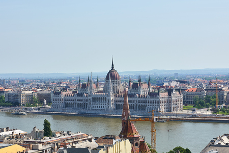 The Parliament building in Budapest as seen from across the Danube river