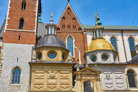 Wawel Cathedral in Krakow Poland the domes above the entrance
