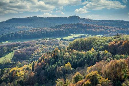 Eifel Landscape in beautiful autumn Stock Photo