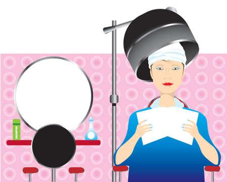 hair wash: hair saloon Illustration