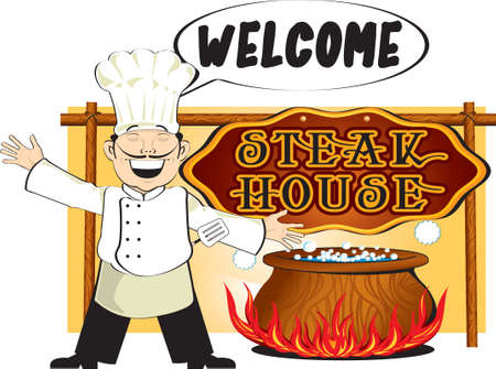 welcome to my steak house Vector