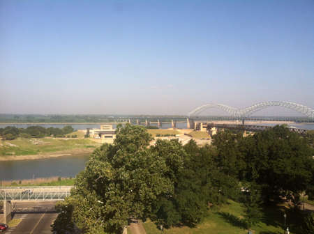 A beautiful view of downtown Memphis and the mighty Mississippi river 版權商用圖片