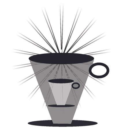 Coffee mug, tall, with rays Illustration