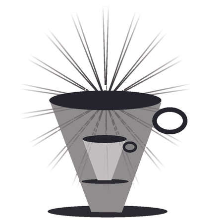 greyscale: Coffee mug, tall, with rays Illustration