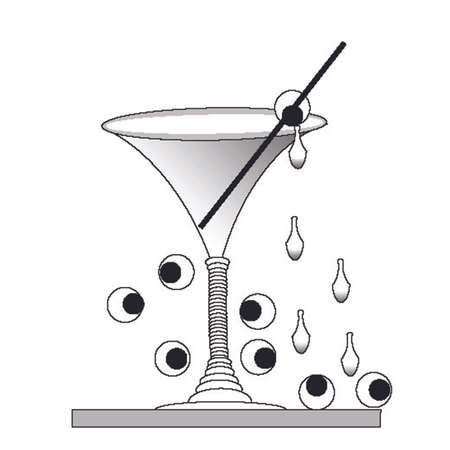 Martini glass with tears and olive eyeballs