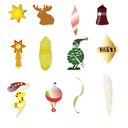 12 Christmas Tree Ornaments Illustration